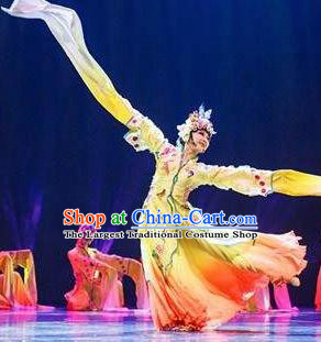 Traditional Chinese Classical Dance Flowers Contend in Beauty Costume Peking Opera Water Sleeve Yellow Dress for Women