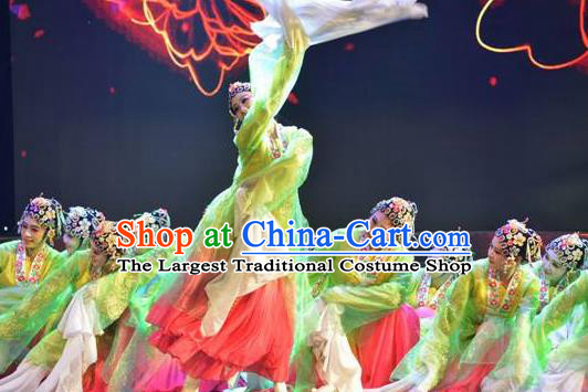 Traditional Chinese Classical Dance Flowers Contend in Beauty Costume Peking Opera Water Sleeve Green Dress for Women