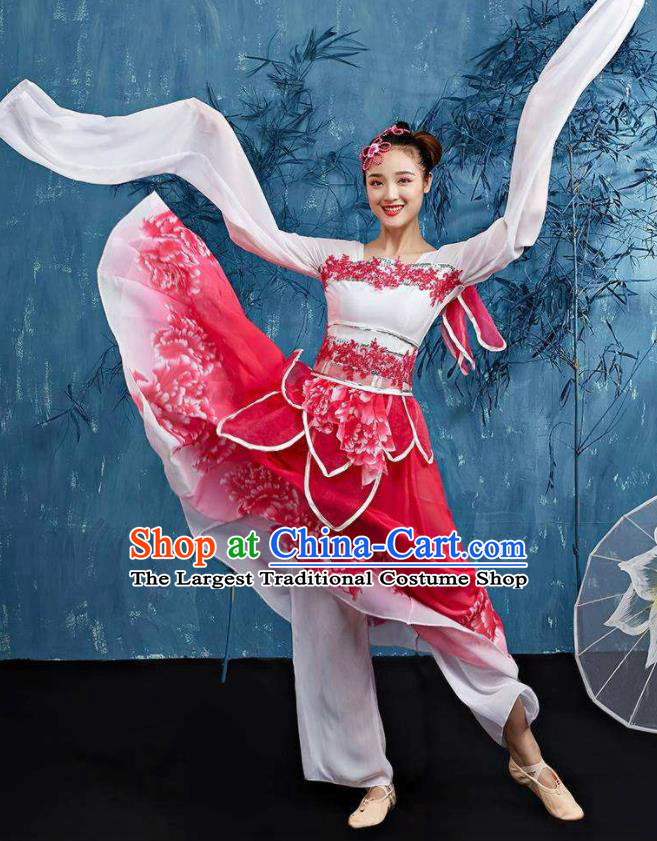 Traditional Chinese Classical Dance Cai Wei Costume Group Dance Water Sleeve Dance Red Dress for Women