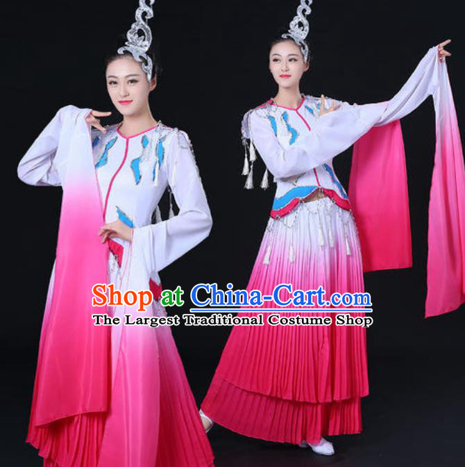 Traditional Chinese Classical Dance Cai Wei Costume Water Sleeve Dance Rosy Dress for Women