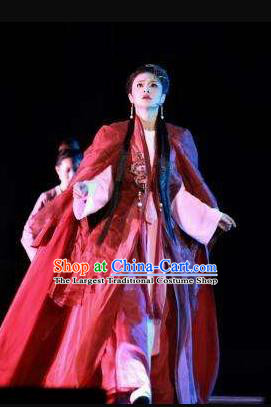 Traditional Chinese Classical Dance Cai Wei Costume Group Dance Dress for Women
