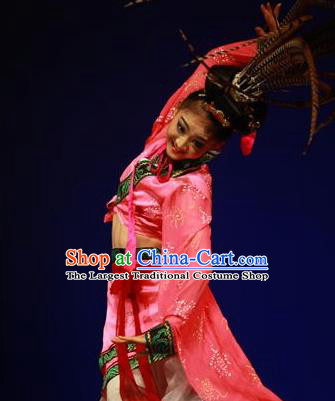 Traditional Chinese Classical Dance Chu Yao Costume Ancient Court Group Dance Dress for Women