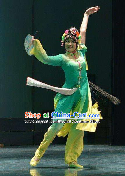 Traditional Chinese Classical Dance Fang Chun Xing Costume Beijing Opera Dance Green Dress for Women