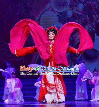 Traditional Chinese Classical Dance Guo Se Tian Xiang Costume Water Sleeve Beautiful Dance Red Dress for Women