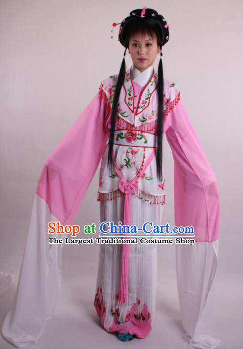 Professional Chinese Shaoxing Opera Rich Girl Pink Dress Ancient Traditional Peking Opera Costume for Women