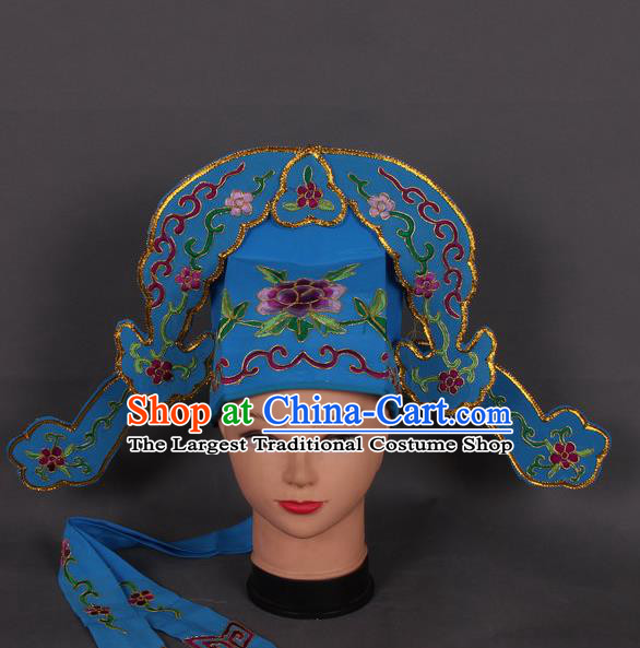 Traditional Chinese Shaoxing Opera Niche Royalblue Hat Ancient Gifted Scholar Hair Accessories Headwear for Men