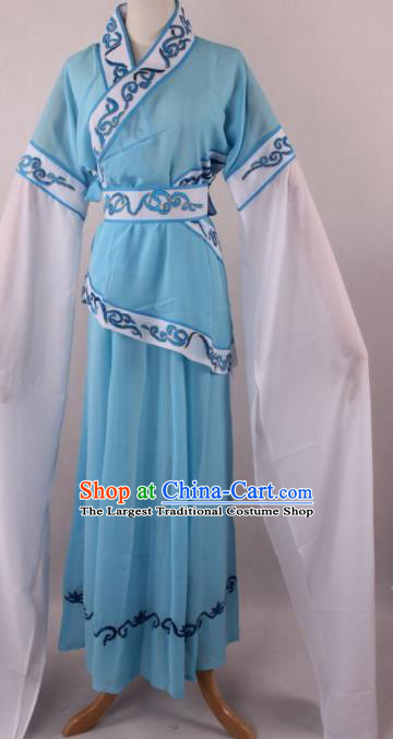 Professional Chinese Shaoxing Opera Village Girl Blue Dress Ancient Traditional Peking Opera Maidservant Costume for Women