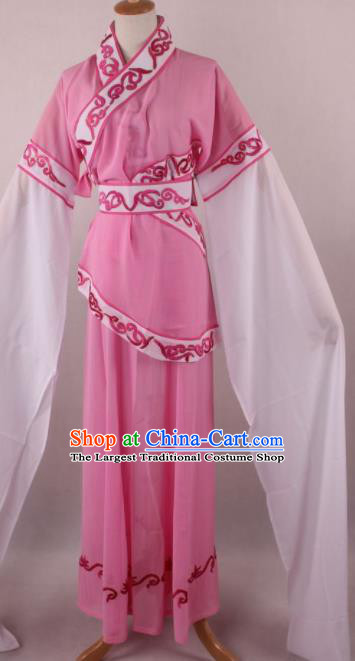 Professional Chinese Shaoxing Opera Village Girl Pink Dress Ancient Traditional Peking Opera Maidservant Costume for Women