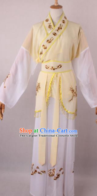 Professional Chinese Shaoxing Opera Servant Girl Yellow Dress Ancient Traditional Peking Opera Maidservant Costume for Women