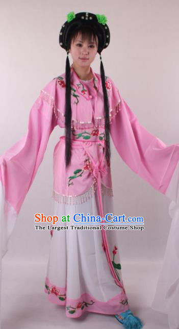 Professional Chinese Shaoxing Opera Princess Pink Dress Ancient Traditional Peking Opera Young Lady Costume for Women