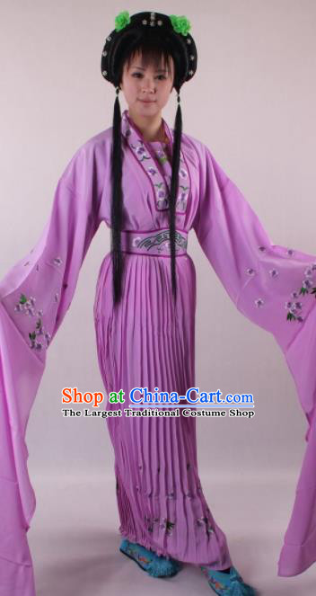 Professional Chinese Shaoxing Opera Princess Purple Dress Ancient Traditional Peking Opera Young Lady Costume for Women