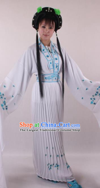 Professional Chinese Shaoxing Opera Princess White Dress Ancient Traditional Peking Opera Young Lady Costume for Women