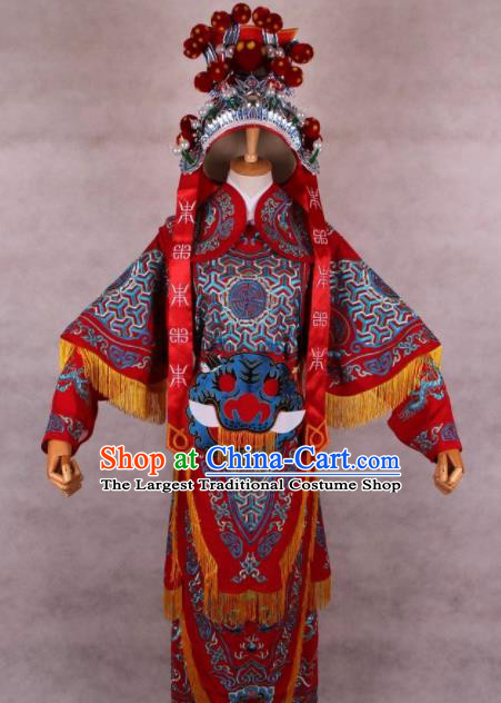 Chinese Shaoxing Opera Takefu Red Clothing Traditional Ancient General Da Kao Costume for Men