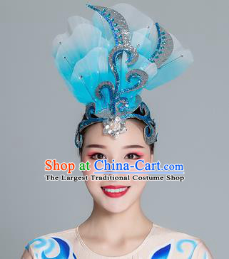 Traditional Chinese Folk Dance Blue Silk Flower Hair Clasp Fan Dance Yanko Dance Headwear for Women