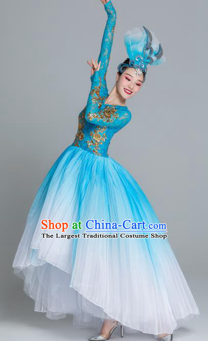 Traditional Chinese Classical Dance Chorus Blue Dress Stage Show Opening Dance Costume for Women