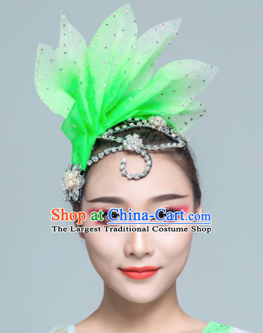 Traditional Chinese Folk Dance Green Silk Leaf Hair Clasp Fan Dance Yanko Dance Headwear for Women