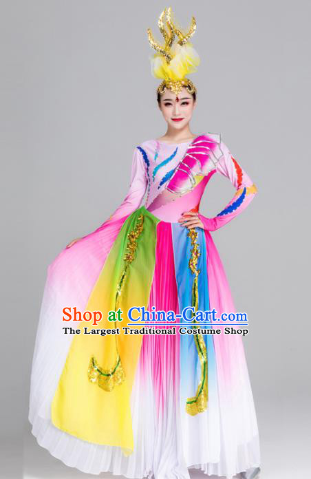 Traditional Chinese Spring Festival Gala Dance Chorus Pink Dress Stage Show Opening Dance Costume for Women
