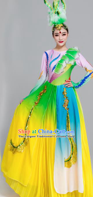Traditional Chinese Spring Festival Gala Dance Chorus Green Dress Stage Show Opening Dance Costume for Women