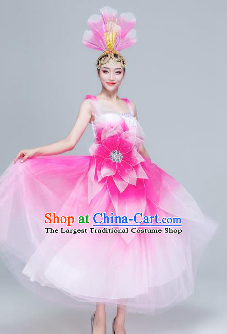 Traditional Chinese Spring Festival Gala Opening Dance Pink Dress Stage Show Chorus Costume for Women