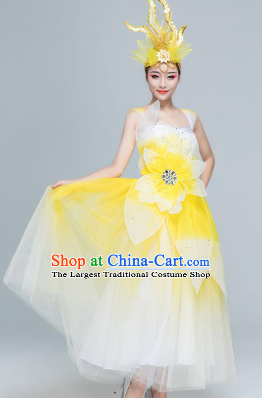 Traditional Chinese Spring Festival Gala Opening Dance Yellow Dress Stage Show Chorus Costume for Women