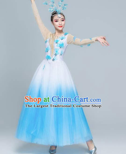 Traditional Chinese Spring Festival Gala Modern Dance Blue Dress Stage Show Chorus Opening Dance Costume for Women