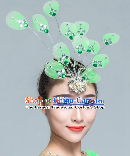 Traditional Chinese Yanko Dance Green Silk Hair Claw Folk Dance Fan Dance Headwear for Women