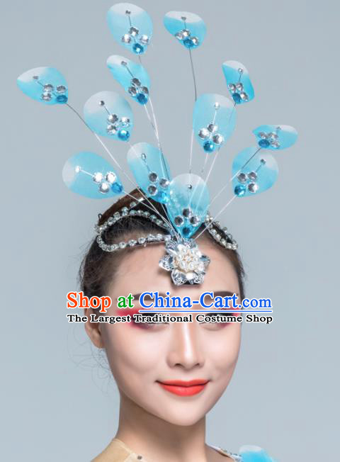 Traditional Chinese Yangko Dance Blue Silk Hair Claw Folk Dance Fan Dance Headwear for Women