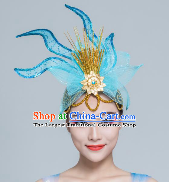 Traditional Chinese Yangko Dance Blue Lotus Hair Claw Folk Dance Fan Dance Headwear for Women