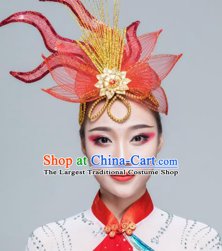 Traditional Chinese Yangko Dance Red Lotus Hair Claw Folk Dance Fan Dance Headwear for Women