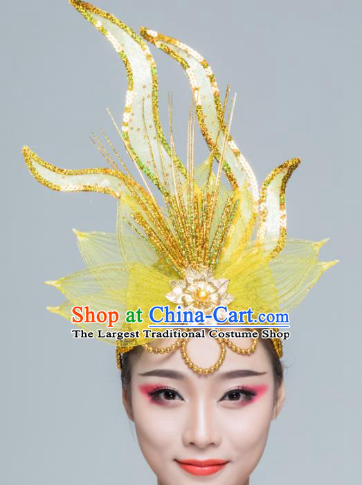 Traditional Chinese Yangko Dance Yellow Lotus Hair Claw Folk Dance Fan Dance Headwear for Women
