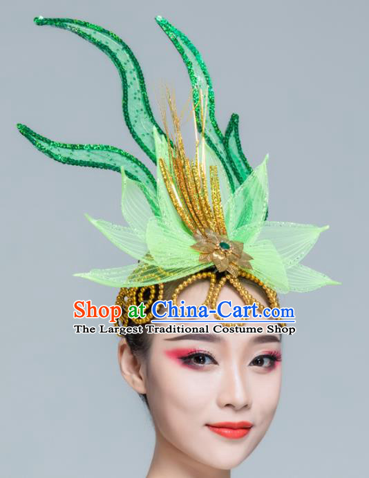 Traditional Chinese Yangko Dance Green Lotus Hair Claw Folk Dance Fan Dance Headwear for Women