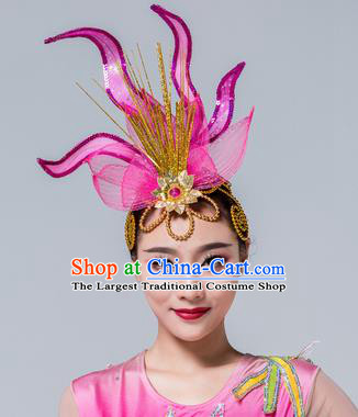 Traditional Chinese Yangko Dance Purple Lotus Hair Claw Folk Dance Fan Dance Headwear for Women