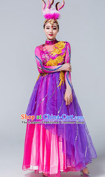 Traditional Chinese Spring Festival Gala Group Dance Purple Dress Stage Show Chorus Opening Dance Costume for Women