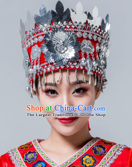 Traditional Chinese Miao Nationality Red Hat Ethnic Folk Dance Headwear for Women