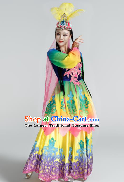 Traditional Chinese Uyghur Nationality Dance Dress Stage Show Ethnic Dance Costume for Women