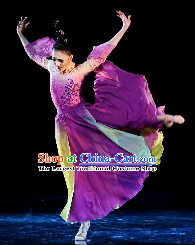 Traditional Chinese Classical Dance Qie Kan Xing Yun Costume Stage Show Beautiful Dance Purple Dress for Women