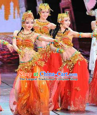 Traditional Chinese Classical Dance Competition Along the Silk Road Red Costume Indian Dance Stage Show Beautiful Dance Dress for Women