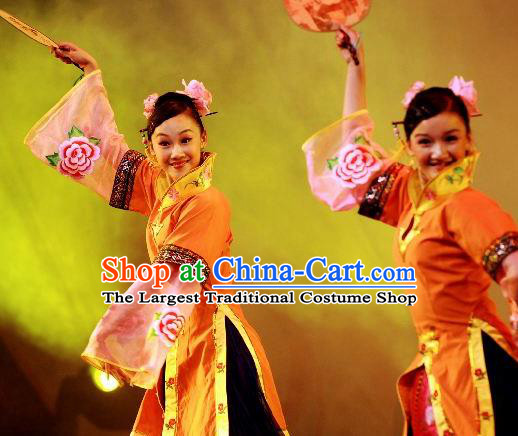Chinese Beautiful Dance Wan Shan Shi Nv Orange Costume Traditional Palace Fan Classical Dance Competition Dress for Women