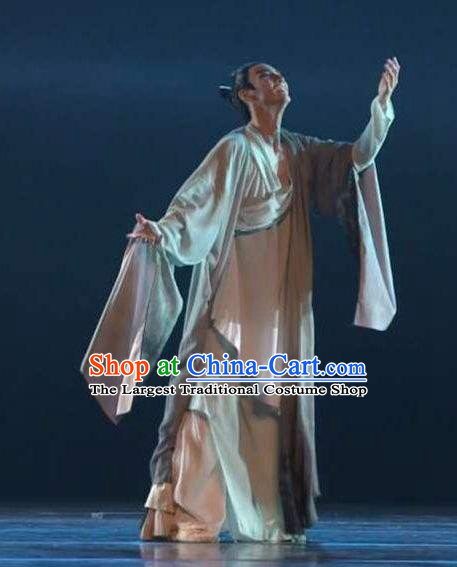 Traditional Chinese Classical Dance Wen Yue Costume Male Solo Dance Clothing for Men