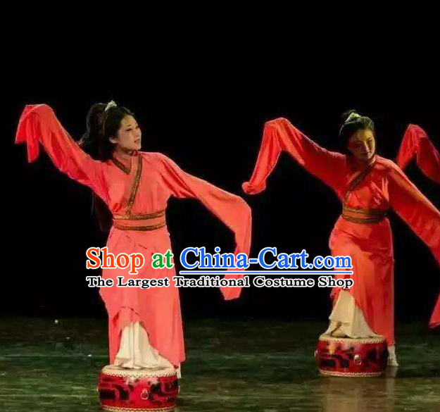 Chinese Beautiful Dance Xiang He Ge Costume Traditional Water Sleeve Dance Classical Dance Competition Dress for Women