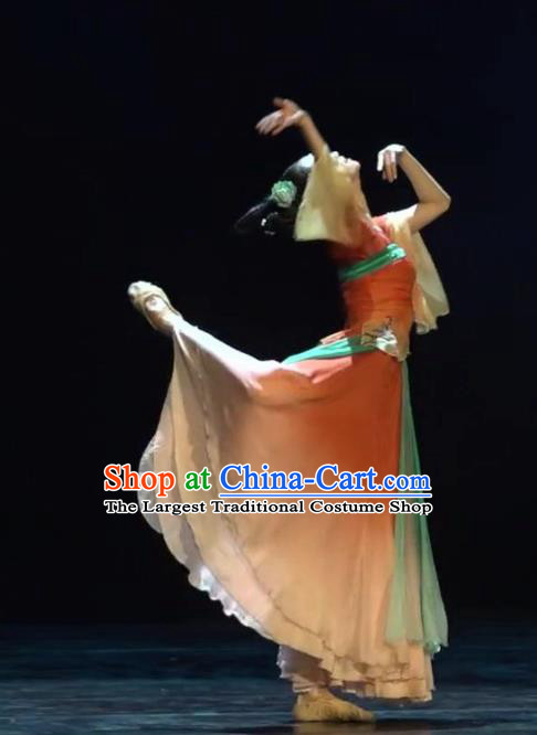Chinese Beautiful Dance Xi Shang Mei Shao Costume Traditional Umbrella Dance Classical Dance Competition Dress for Women