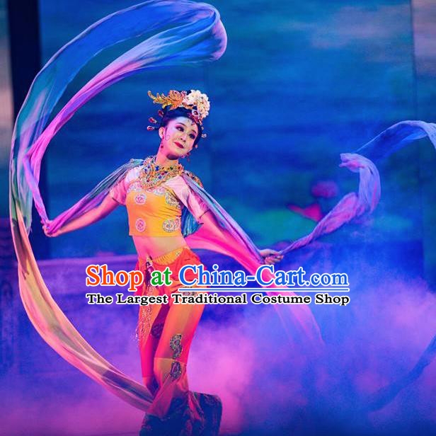 Traditional Chinese Classical Dance Coloured Silk Competition Si Lu Ni Shang Costume Stage Show Beautiful Dance Dress for Women
