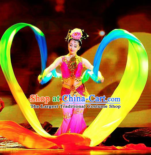 Traditional Chinese Classical Dance Coloured Ribbon Competition Si Lu Ni Shang Costume Stage Show Beautiful Dance Dress for Women
