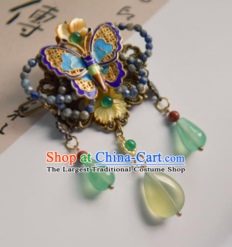 Chinese Ancient Princess Hair Accessories Traditional Hanfu Blueing Butterfly Hair Stick Hairpins for Women