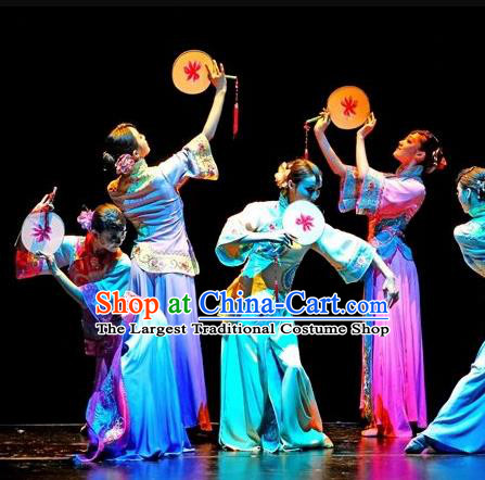 Beautiful Chinese Dance Xun Yang Yuyun Costume Traditional Palace Fan Dance Classical Dance Dress for Women