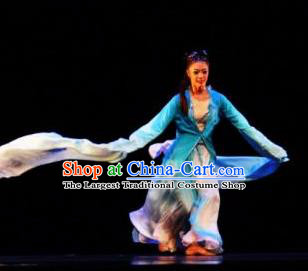 Beautiful Chinese Dance Rember Qiantang River Costume Traditional Water Sleeve Dance Classical Dance Dress for Women