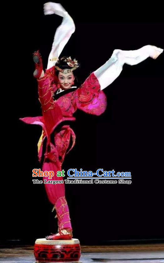 Chinese Beautiful Dance Tong Que Ji Red Costume Traditional Classical Drum Dance Competition Stage Show Dress for Women