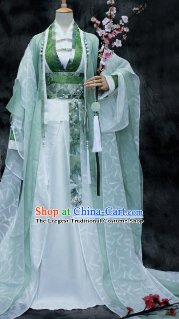 Traditional Chinese Cosplay Swordsman Green Costume Ancient Royal Highness Hanfu Clothing for Men