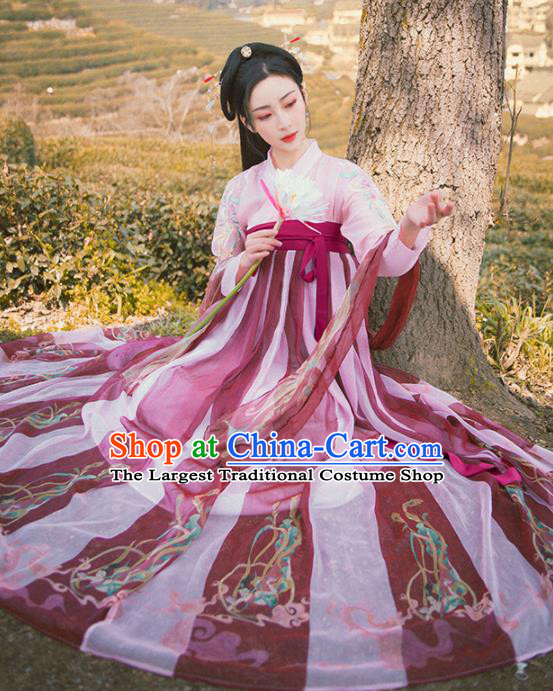 Traditional Chinese Tang Dynasty Historical Costume Ancient Court Princess Hanfu Dress for Women
