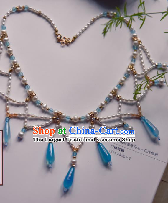 Chinese Ancient Princess Blue Beads Jewelry Accessories Hanfu Tassel Necklace for Women